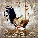Ceramic Tile Mural - Rooster III - by Malenda Trick - Kitchen backsplash/Bathroom shower