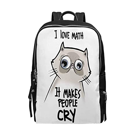1dc96713f6 InterestPrint Funny Cat with Math Quotes I Love Math I Makes People Cry  Unisex School Bag