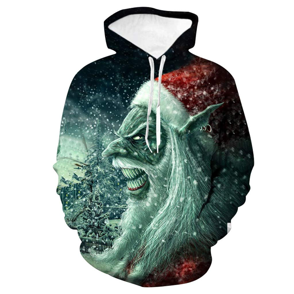 Beautyfine Ugly Christmas Sweatshirt 3D Snowstorm Horror Santa Print Hooded Sweater Xmas Party