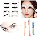 Eyebrow Stencil Shaper with 3 pcs Eyebrow Razor- Eyebrow Stencil Ruler Shaping Template for DIY Grooming – Eyebrows Grooming Stencil Kit Reusable Styling Tool, 16 Unique Styles, 32pcs