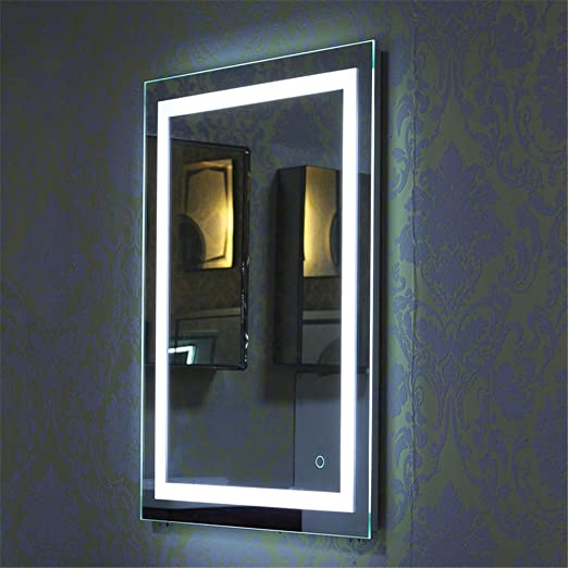 Turefans Espejo Wall-Mountedl, diseño Moderno, Interruptor táctil Espejo, LED Blanco, 60 * 80cm, Superventas: Amazon.es: Hogar