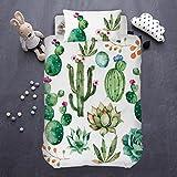 ARIGHTEX Bright Cactus Bedding Green Plant Bedspread Botanical Natural Duvet Cover 2 Piece College Dorm Comforter Cover Set (Single)