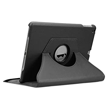 doupi Deluxe Protección Funda para iPad Air (1. Gen.), Smart Sleep/Wake Up función 360 Grados giratoria del Caso del Soporte Bolsa, Negro