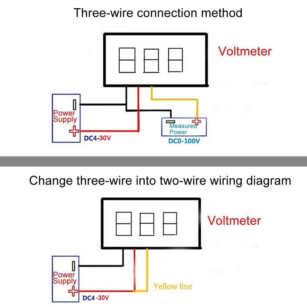Makerfocus 5pcs Mini Digital Voltmeter Dc 028 Inch Three Line 0 Wiring Diagram 100v Gauge Tester Led Display Reverse Polarity Protection And