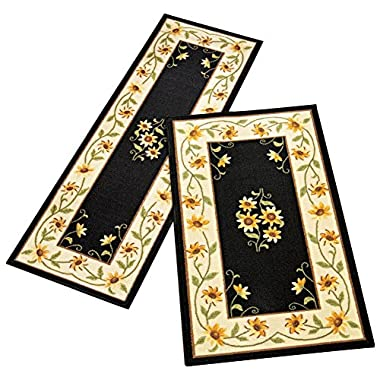 Floral Sunflower Accent Rug, Black, 26 X 45