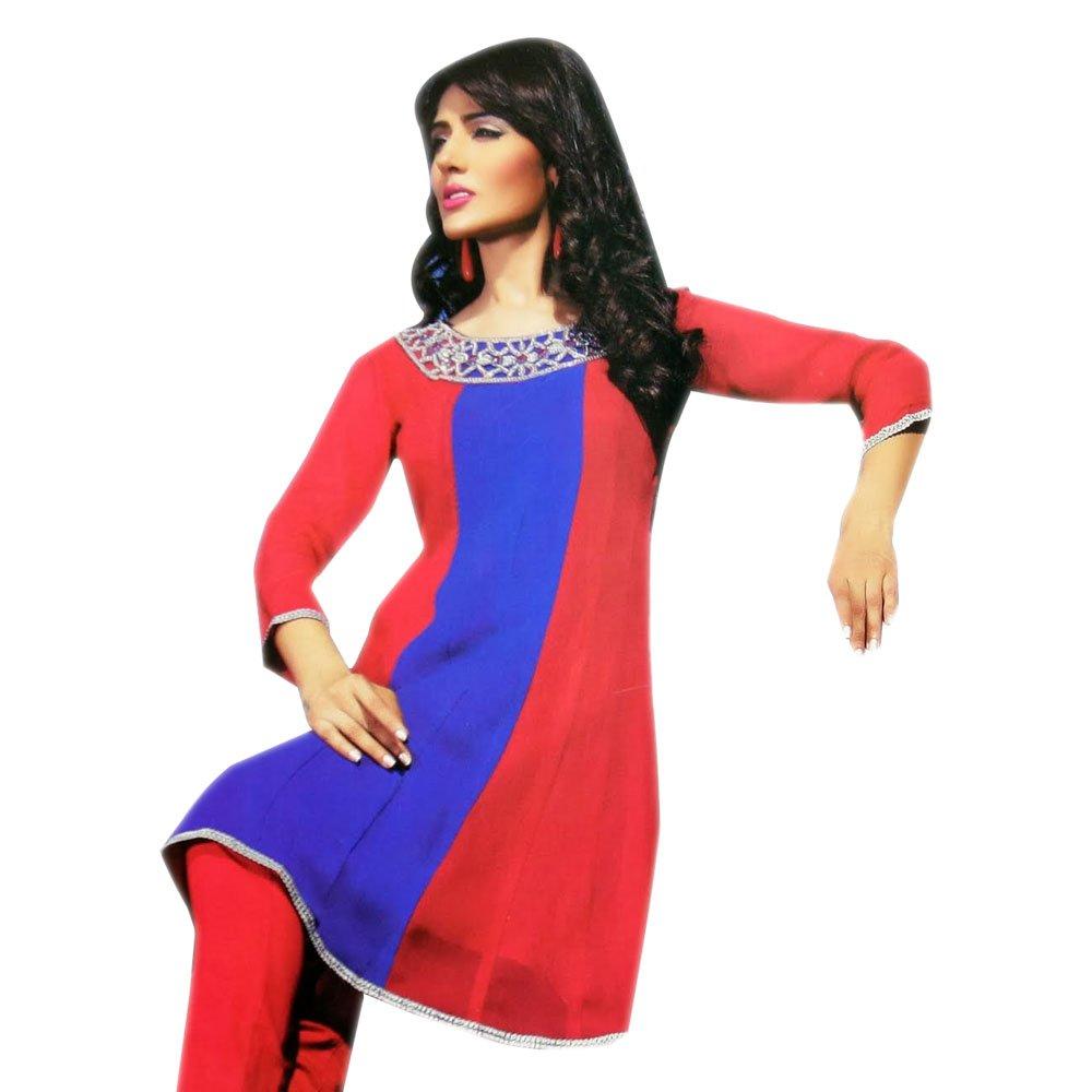 Jayayamala Women Multi Color Georgette Tunic 3/4 Sleeve Top Dress (xxxl)
