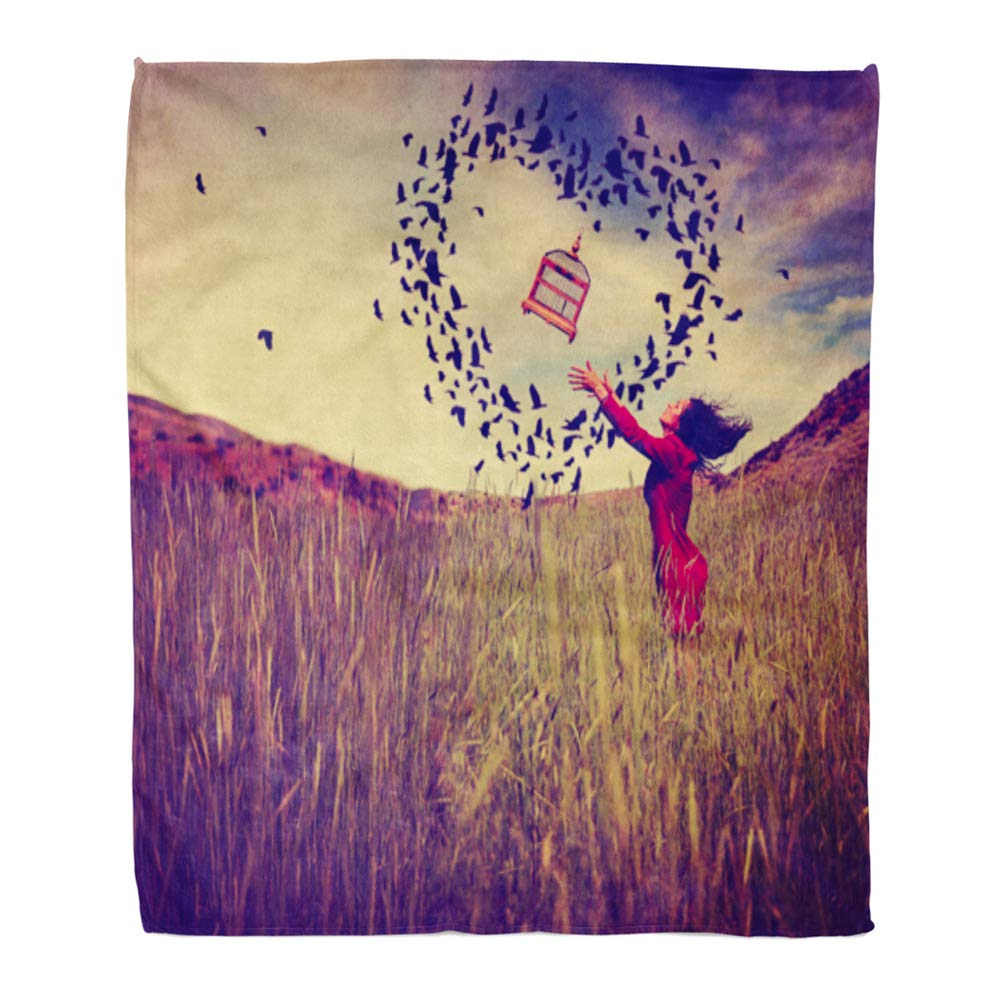 Multi 12 60\ Emvency Throw Blanket Warm Cozy Print Flannel Girl in Field Tossing Birdcage The Air Birds Flying Shape of Heart Toned Retro Comfortable Soft for Bed Sofa and Couch 60x80 Inches