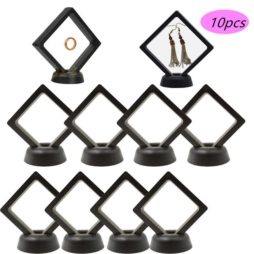 Jewelry Display Stand 10 3D Floating Frame Holder for Challenge Coins, AA Medallions, Jewelry, Black