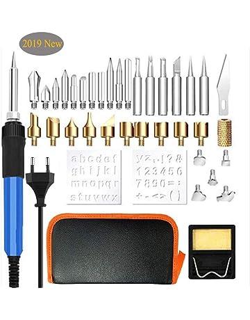 37pcs Kit Pirograbador de Madera, kit de soldadura WesKimed 60W, Temperatura Regulable(250