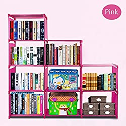 Gracelove Kids 4 Shelf DIY Bookcase Storage Bookshelf Home Furniture