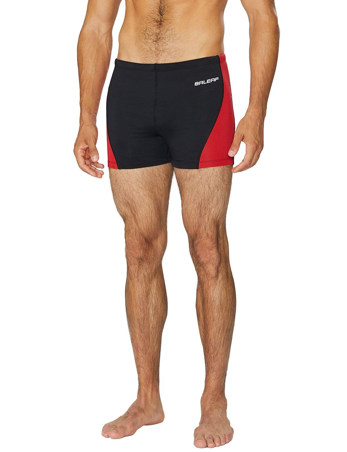 BALEAF Mens' Athletic Durable Training Polyester Quick Dry Compression Square Leg Jammers Swim Brief Swimsuit Black/Red Sise 34 by BALEAF
