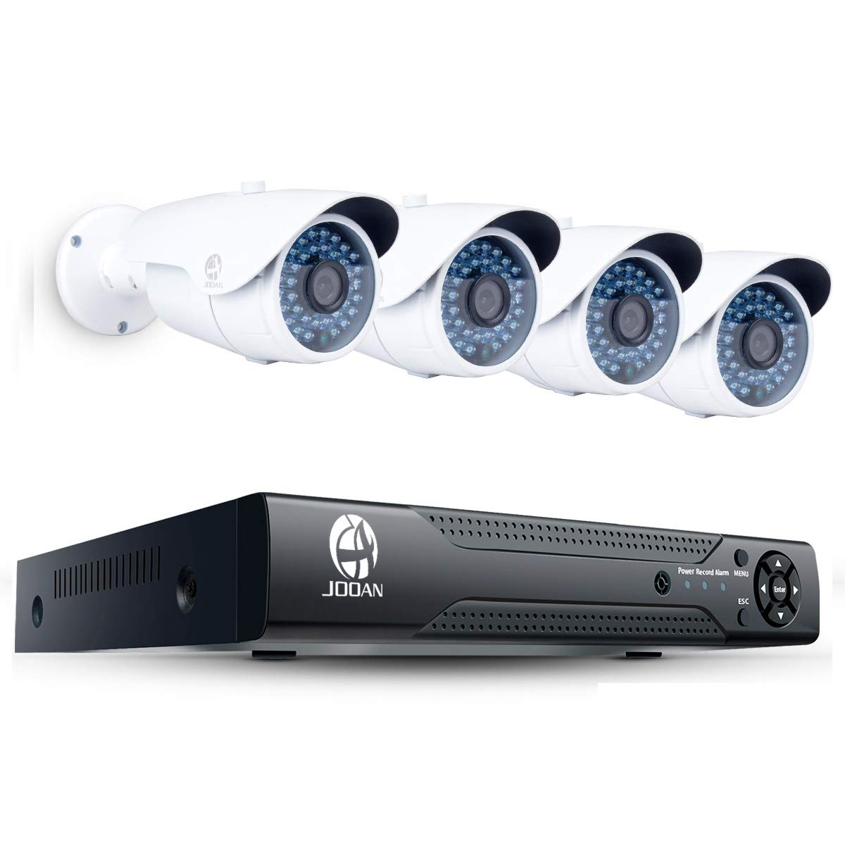 JOOAN POE Home Security Camera System HD 960P Outdoor PoE IP Camera CCTV Surveillance 1.3MP 4CH NVR Security System Kit Indoor Network Camera System-No HDD