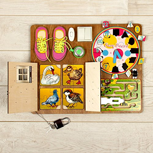 Wooden Activity Busy Board for Girls by Neskuchnye igry (Image #1)