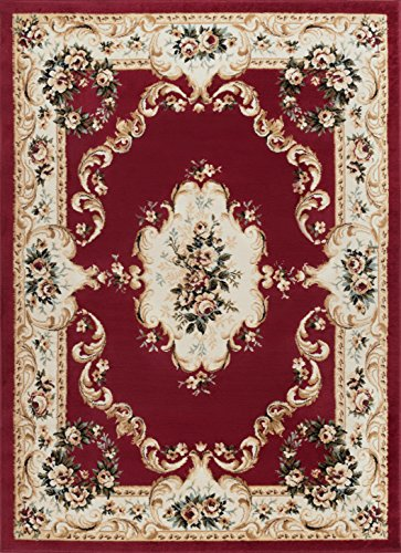 Floral Vines Rectangle Rug (Angeline Traditional Floral Red Rectangle Area Rug, 7.6' x 10')