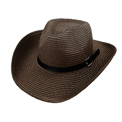 ff1438a69bb Amazon.com  Teresamoon Floppy Foldable Man Unisex Belt Straw Beach Sun  Summer Hat Wide Brim  Home   Kitchen
