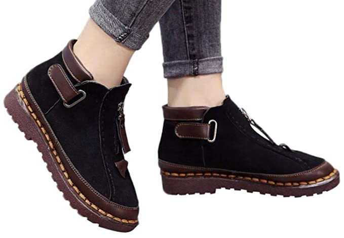 4e8275db42b Hemlock Women Teen Flat Ankle Boots Female Motorcycle Boots Retro Western  Boots Hiking Snow Booties