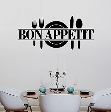 BIBITIME Bon Appetit Vinyl Kitchen Lettering Wall Sayings Home Decor Art Sticker Stickers Dining Room