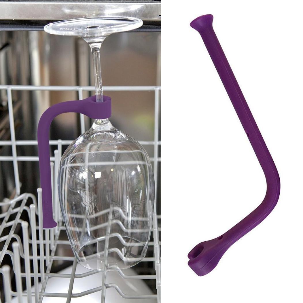 Stemware Saver, AMA(TM) Adjust Silicone Wine Glass Dishwasher Goblet Holder Rack Safer (Purple, 1)