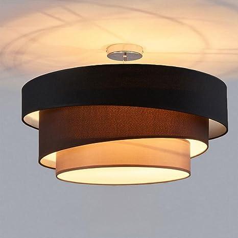 Moderno Diseño Redondo Lámpara de Techo Negro 3-Luces ...
