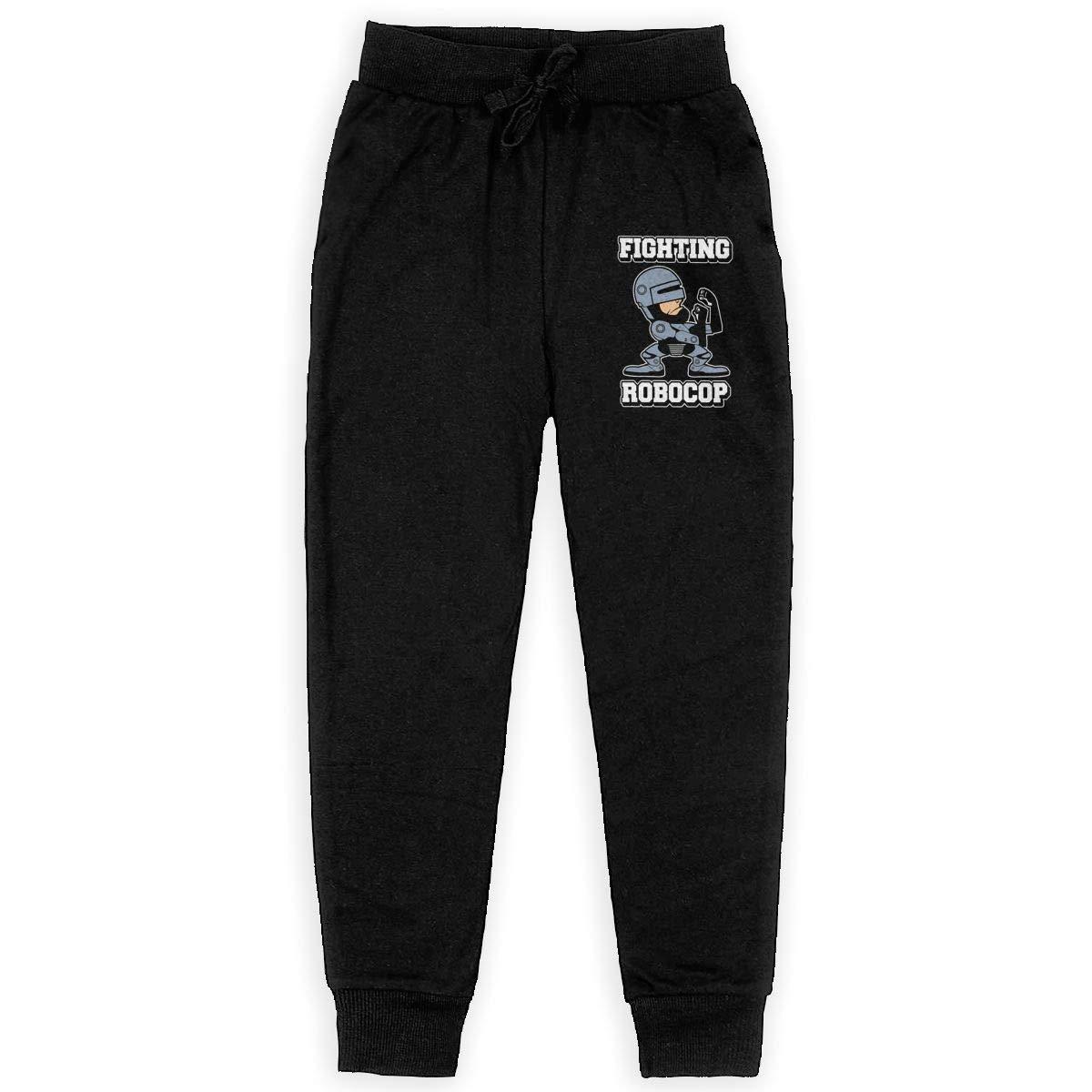 Kim Mittelstaedt Fighting Robocop Boys Big Active Basic Casual Pants Sweatpants for Boys Black