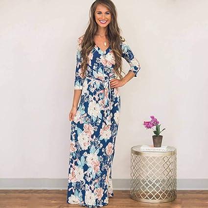 Daidailyq Robe Longue Imprimee A Fleurs Boho Beach Dress Summer Robe De Soiree Elegante A Col En V Amazon Fr Sports Et Loisirs