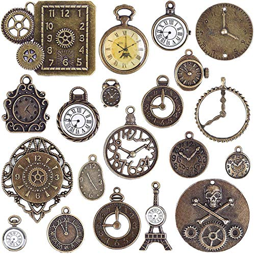 (BronaGrand 20pcs Mixed Antiqued Bronze Charms Clock Face Charm Pendant, DIY Crafts, Gears, Jewelry Making, Steampunk)
