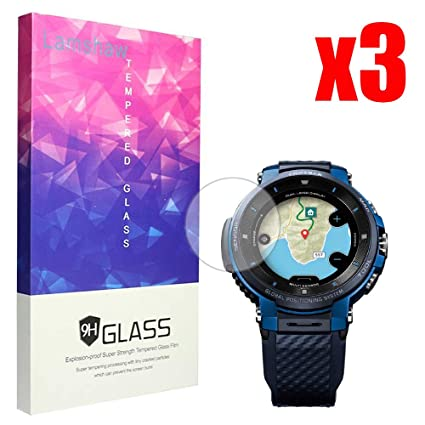 Screen Protector, Lamshaw 9H Tempered Glass Screen Protector for CASIO Smart Watch WSD-F30 Protrek Smart (WSD-F30-3 Pack)