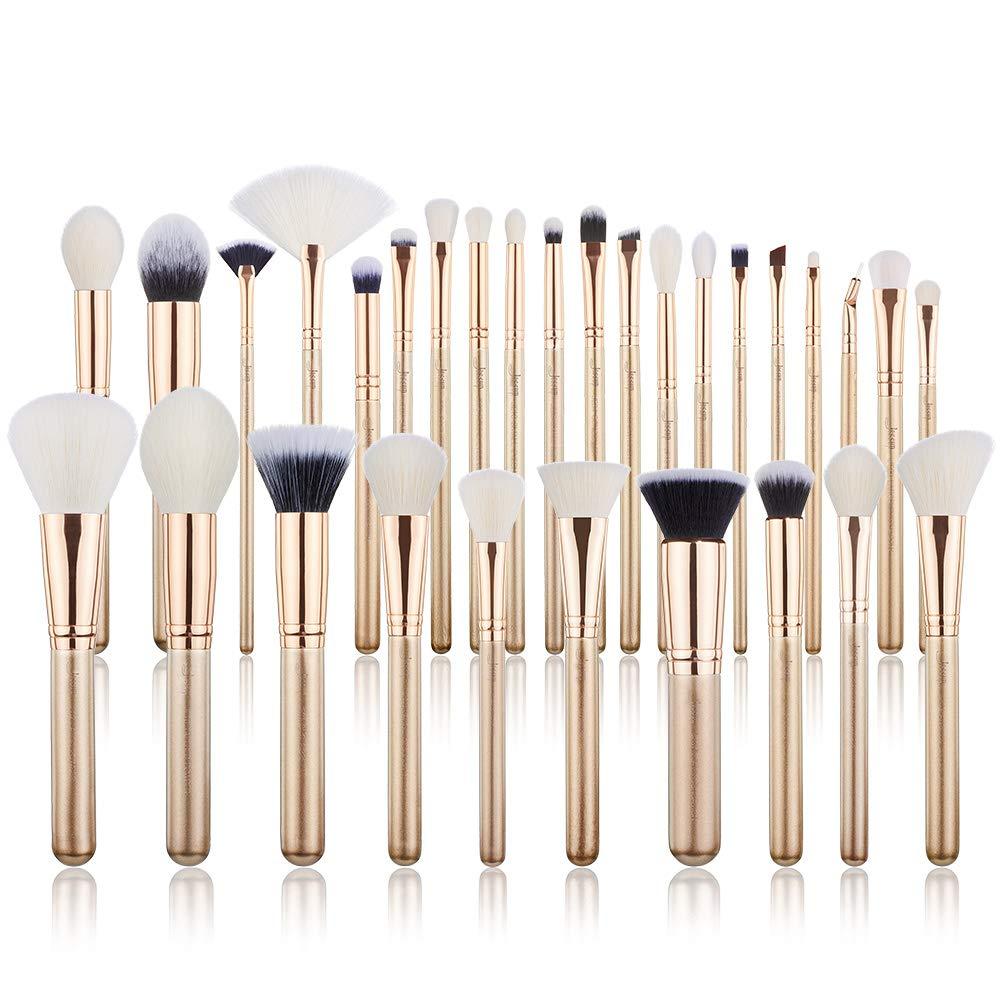 Jessup Professional Makeup Brush Set, Premium Synthetic Face Eye Labeled Wood Vegan Cosmetic Tool Gold 30pcs T400