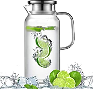 HwaHan Glass Pitcher with Handle and Lid, Handmade Water Jug for Hot/Cold Water, Ice Lemon Tea and Juice Beverage, 1L/35oz