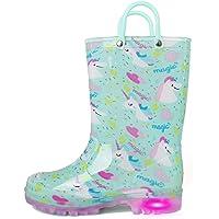 K KomForme Kids Rain Boots, Waterproof Light up Boots with Easy-on Handles,Magic Unicorn,Little Kid 11