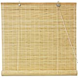 Oriental Furniture WT-YJ1-8B6-48W Burnt Bamboo Roll Up Window Blinds, Natural, 48-Inch Wide by ORIENTAL FURNITURE