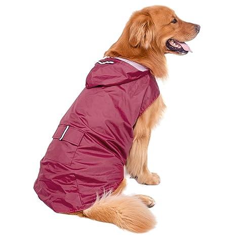 Perro Impermeable, Legendog Impermeable Para Mascotas Impermeable Reflexivo Chaqueta de Perro Bon Capucha para Perros