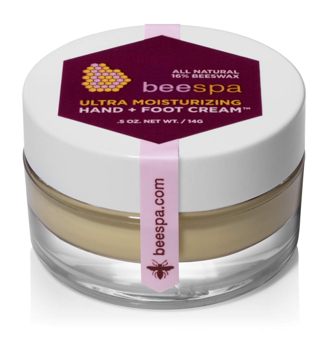 BeeSpa Hand + Foot Cream Mini 0.5oz, travel size, all natural, repairs and smoothes dry and cracked feet and hands, made with essential oils, beeswax and shea butter, anti-aging vitamins and antioxidants nourish