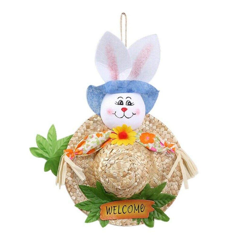 ♚Rendodon♚ Easter, Easter Decoration, Easter Bunny Decorative Cap Straw Hat, Easter Garland Scarecrow Bunny Handmade Creative-Cute Straw Hat for Children (Blue)