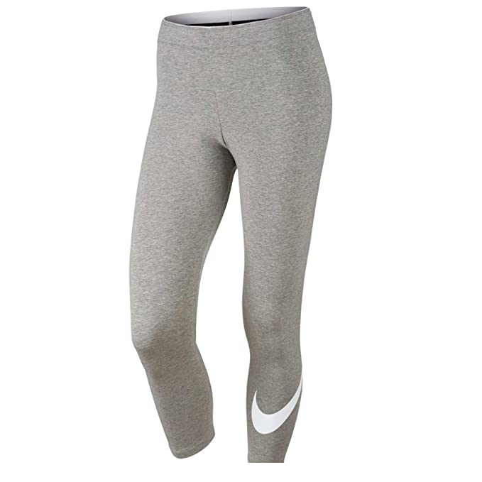 1037133779b Nike Womens Club Swoosh Capri Legging Grey Heather White AA2996-063 Size X-