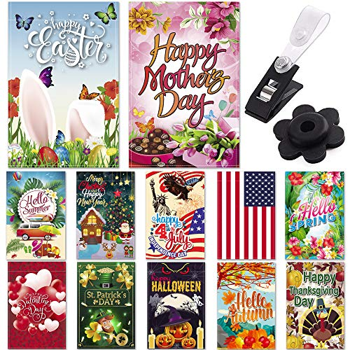 (Season Garden Flags - Set of 12 Garden Flags - Double Sided Outdoor Holidays Yard Flags - Made of Polyester with Anti-Wind Clip & Rubber Stopper Included – Holidays Flags)