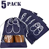 5x Portable Dust-proof Breathable Travel Shoe Organizer Bags Transparent Window for Boots, High Heel Drawstring, Space Saving Storage Bags, L Navy Blue