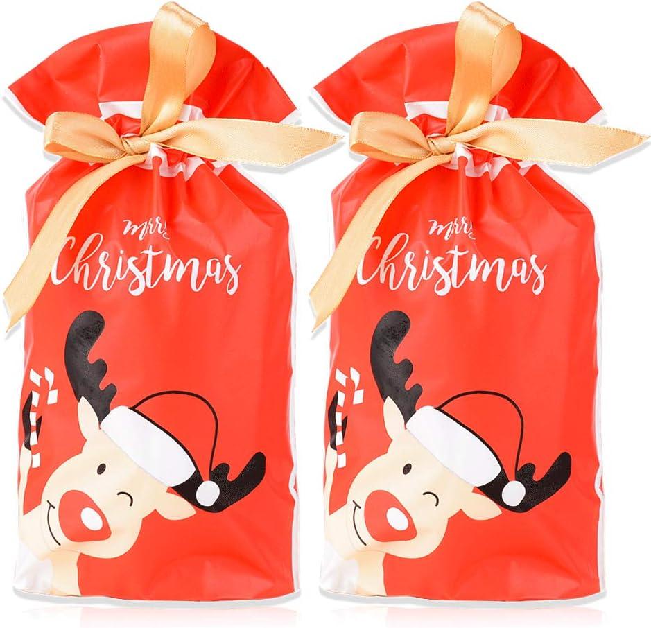 FLOFIA 50pcs Bolsas Bolsitas de Regalo Navidad Pequeñas Bolsas Plástico Navidad con Cordón para Caramelos Dulce Chuche Galletas Regalos de Fiesta DIY Calendarios de Adviento (Patrón Reno)