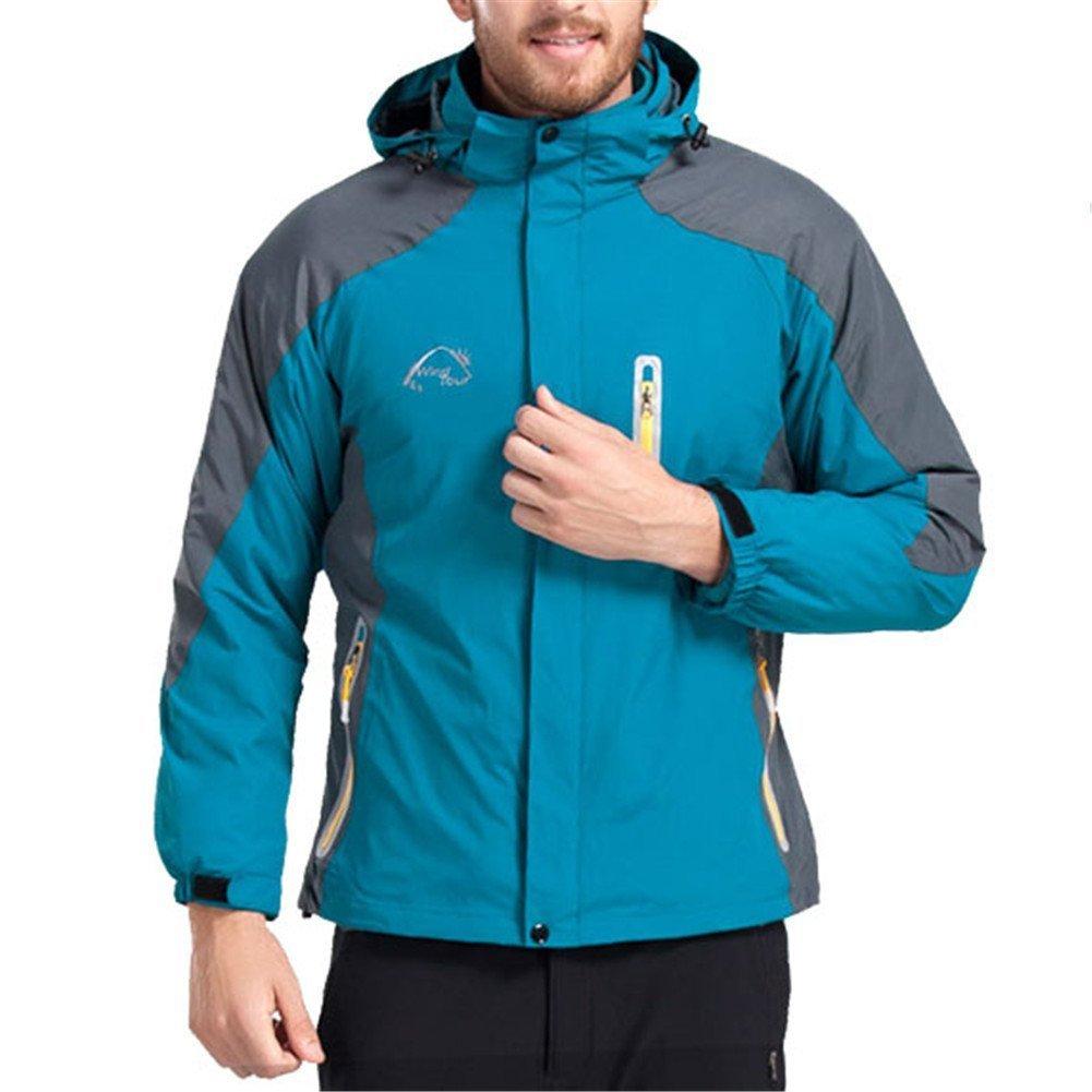 Kuer Men's Outdoor Sportswear 3 in 1 Interchange Mauntaineering Jackets with Liner and Detachable Hood(Jewelry Blue Men,XXL)