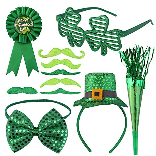 PBPBOX St. Patrick's Day Set for Saint Patrick Party or Parade, including Hat, Mustaches, Glasses, Horn, Badge and Bow