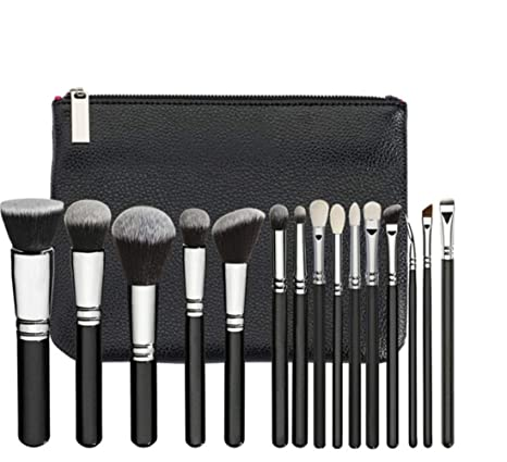 V smile 15pcs Cepillos de maquillaje Set cepillo de cejas negras Cosméticos Maquillaje Kit de herramientas Powder Blending cepillos