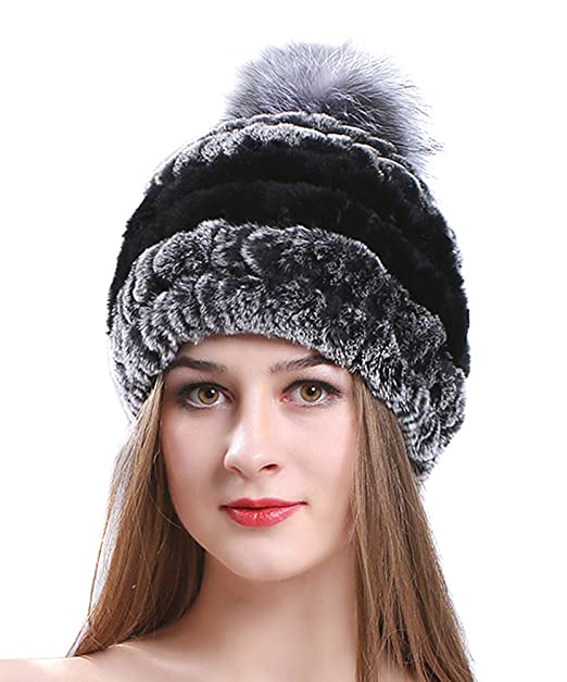 Winter Hats Womens Kintted Cashmere Beanies Real Raccoon Fur Pompom ... 9790e7b7bed