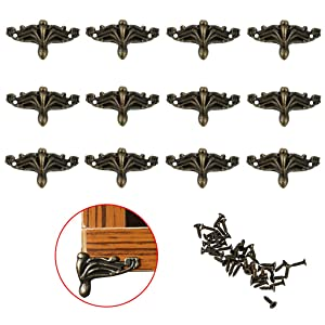 OwnMy 12 PCS Antique Brass Jewelry Box Feet Leg Wood Case Corner Protector Decorative Furniture Legs for DIY Jewelry Chest Gift Box Wood Box