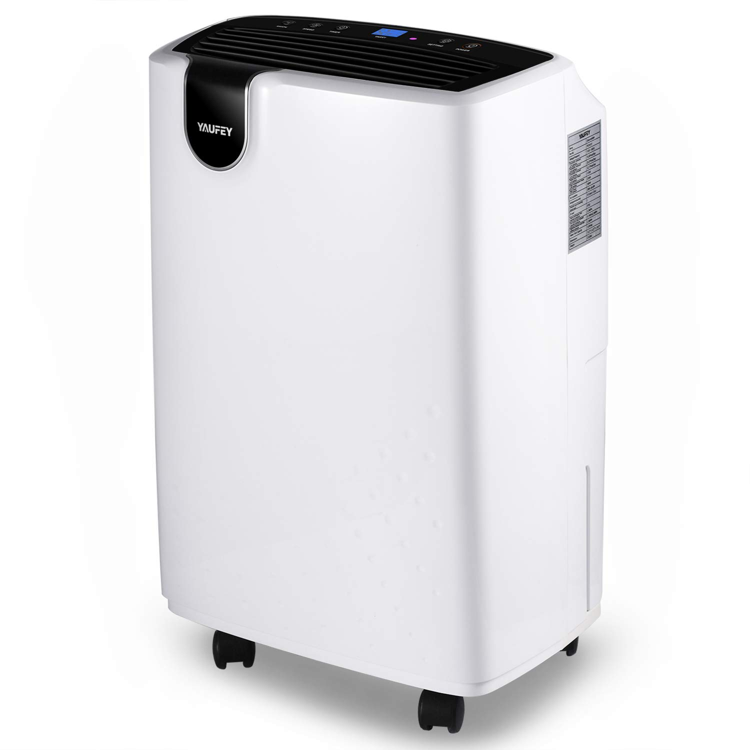 Yaufey 30 Pint Dehumidifier, 4 Gallons/Day Working Capacity, with Continuous Drain Hose and Wheel for Basements Bathroom Bedroom Home - Spaces up to 1500 Sq Ft