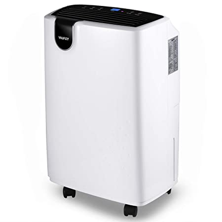 Yaufey 30 Pint Dehumidifier for Home Basements Bedroom Garage, 4 Gallons Day Working Capacity, with 0.47 Gallon Water Tank, Continuous Drain Hose and Wheel Spaces up to 1500 Sq Ft