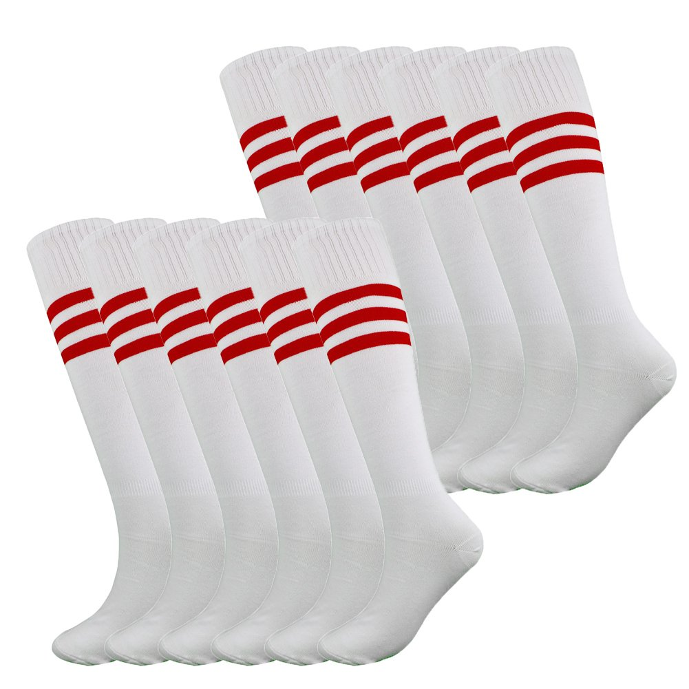 Fitliva White Tube Socks Anniversary Sports Meeting Entrance Ceremony Team Uniform with Red Stripe(12pairs-White) by Fitliva