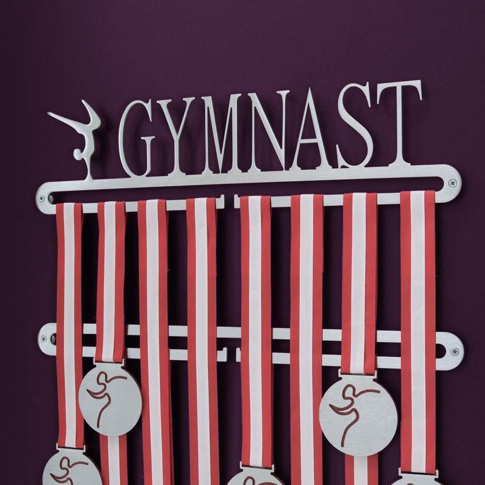 Soporte para colgar medallas de gimnasia, doble riel, con palabra en inglés