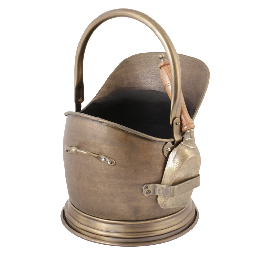 Antique Brass Coal Bucket Scuttle With Wooden Handled Shovel - Fantastic Quality (H32cm x D26cm)