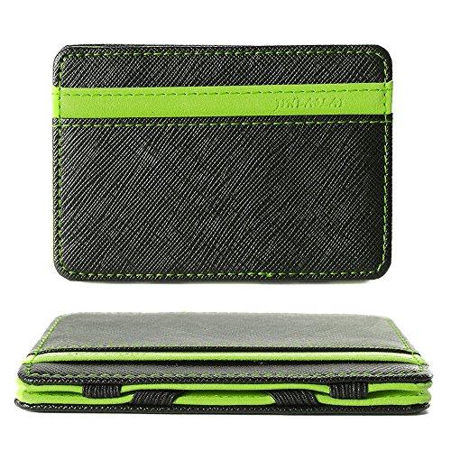 (Magic Wallet Credit Card Holder 4 Card Slots Flexible Money Clip PU Leather Slim Wallets for Men Women Wallet for ID Card Business Card Money, Green)