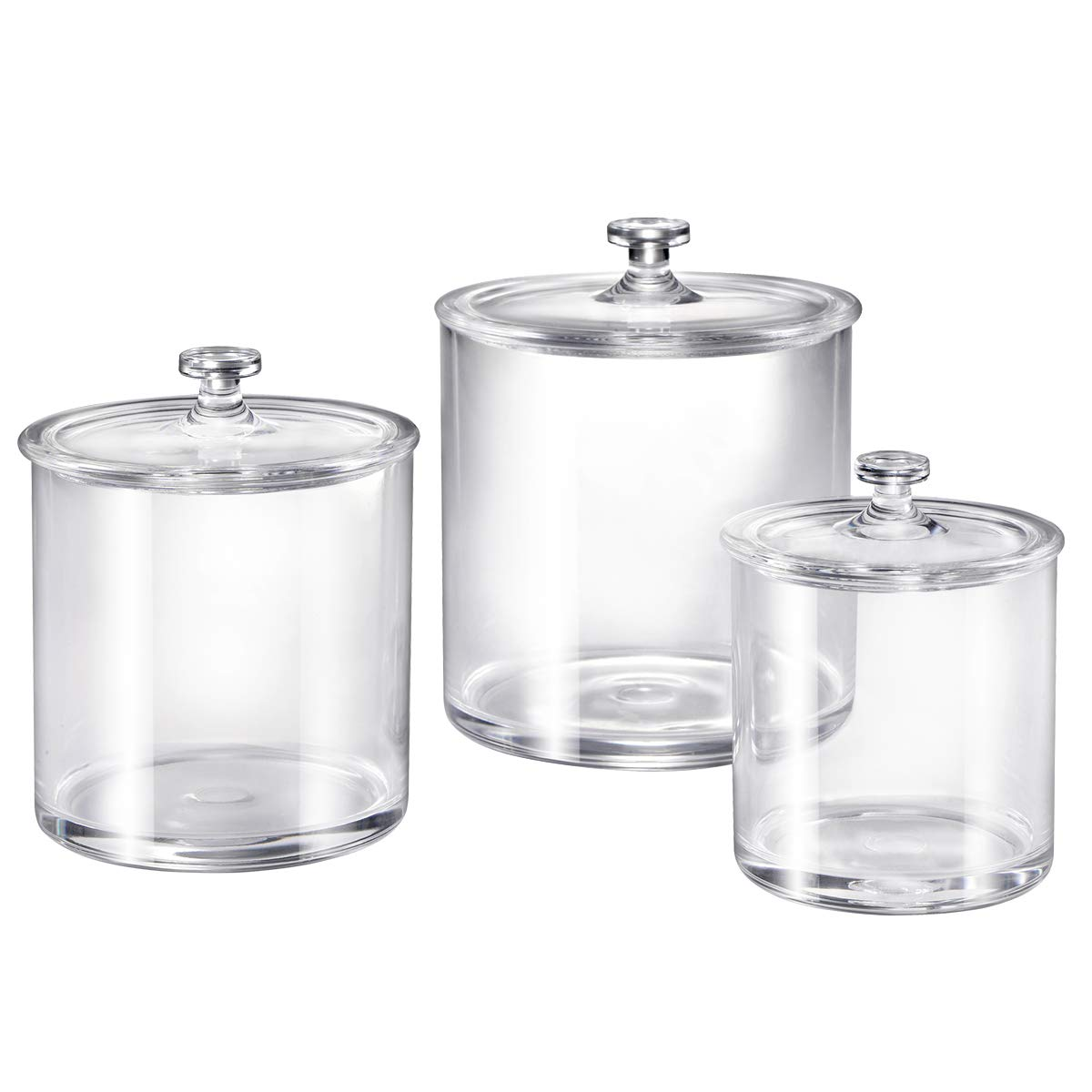 Premium Quality Clear Plastic Apothecary Jars | Set of 3 by Amolliar
